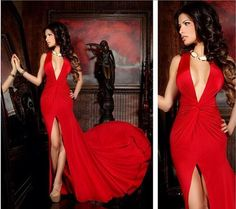 Sexy Split Evening Dresses Halter Neck Red Sleeveless Floor Length Vestidos Formal Prom Gowns New Arrivals