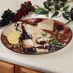 wine curtains for kitchen | Wine Cellar Oval Serving Platter
