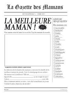 La Gazette des Mamans à remplir par les enfants - Bricolage fête des mères
