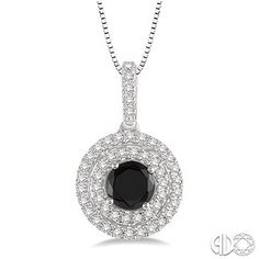 3/4 Ctw Round Cut White and Black Diamond pendant in 14K White Gold with Chain