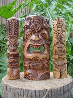 Lot of 3 Vintage Hand Carved Hawaiian Tiki Statues-Polynesian