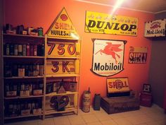 Shell, Dunlop, Mobiloil Signs