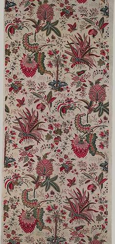 Jouy cotton print, French, 1787. Woodblock