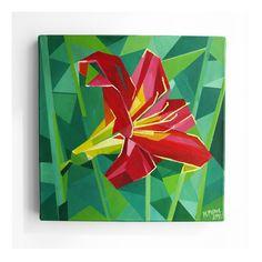 OBRAZ AKRYLOWY KWIAT 02 czerwona lilia w geometrycznej odsłonie, wymiary 30 x 30 cm, obraz autorstwa Magdaleny Purol, pracownia Warszawa Żoliborz, 300 PLN #lily #red #painting #art #triangle #geometric #modernart #acrylic #acryl #redlily #flower