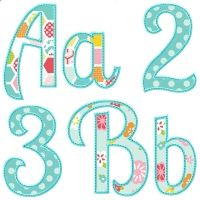 "Summer Applique Alphabet Upper case letters, lower case letters, and numbers 4""-7"""