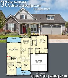 Architectural Designs Home Plan gives you bedrooms, baths and sq. Ready when you are! Where do YOU want to build? Bungalow House Plans, Craftsman House Plans, New House Plans, Dream House Plans, Small House Plans, House Floor Plans, The Plan, How To Plan, 3 Bedroom Home Floor Plans