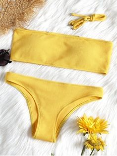 51dcbadb8c2f46 Ribbed Texture Bandeau Bikini Set. ZAFUL. Cheeky fit sexy and modern bathing  suit ...
