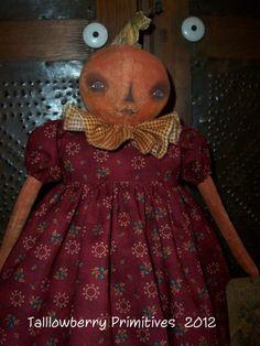 Primitive Folk Art Halloween Harvest Pumpkin Girl Doll Rebecca ~ PFATT | eBay