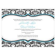 Love Bird Damask Invitation