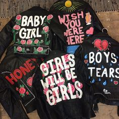 ELIZABETH ILSLEY | Hand painted custom design 100% leather You have the option to decide on a personal slogan Individual must supply leather jacket or a vintage jacke...
