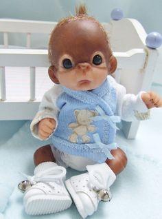 OOAK Baby Orangutan Monkey Boy Sculpted Polymer Clay Art Doll Poseable