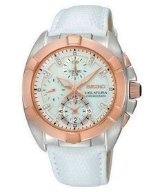 Seiko Velatura, Ladies Chronograph Watch, with stainless steel case and rose gold finish bezel, Fixing Spray, Atm, Bracelet Cuir, Seiko Watches, Unisex, Artisan Jewelry, Calf Leather, White Leather, Michael Kors Watch