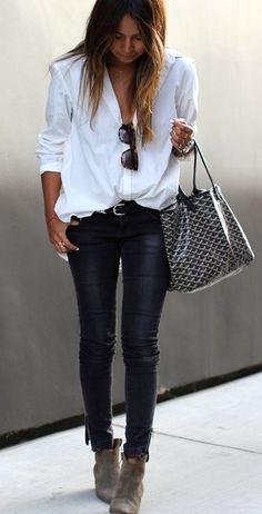 black skinnies and white shirt <3
