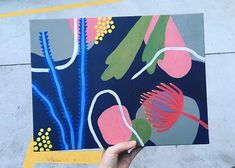 Australian Native flower inspired abstract acrylic painting on canvas Bird Painting Acrylic, Fabric Painting, Watercolour Painting, Flower Mural, Flower Art, Botanical Drawings, Botanical Art, Art Simple, Australian Native Flowers