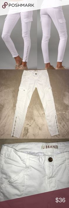 J Brand white jeans white skinny cargo pants J Brand Houlihan Skinny Jeans in white, with cargo pockets and darling gold zippers.  Barely worn and in lovely condition!  The back pockets feature hidden buttons (one of which is missing, as pictured), but otherwise perfect!  Size 28. J Brand Jeans Skinny