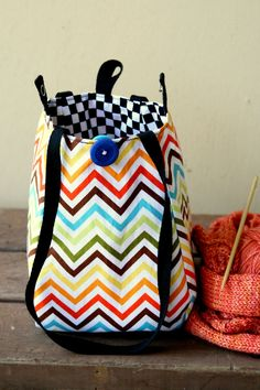 Knitting Project Bag / Crochet Project Bag / Lantern Bag/ Lunch Bag - Small - Chevron Check. $19.00, via Etsy.