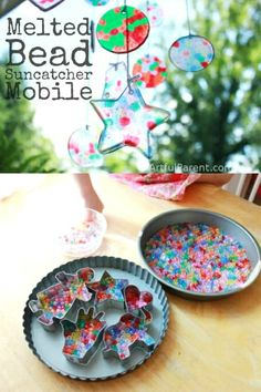 How to make a colorful melted bead suncatcher mobile from plastic pony beads. This is such a fun craft to do with kids & makes a great decoration or gift! via Artful Parent Crafts A Melted Bead Suncatcher Mobile (+ How to Make Fun Shapes! Melted Bead Crafts, Pony Bead Crafts, Crafts With Pony Beads, Plastic Bead Crafts, Fun Crafts For Kids, Hobbies And Crafts, Art For Kids, Preschool Crafts, Garden Crafts For Kids
