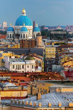 The star covered dome of the Trinity Cathedral towering over the city of St Petersburg, Russia by Nomadic Vision Photography Largest Countries, Countries Of The World, Belle France, Stations De Ski, St Petersburg Russia, Destinations, Beautiful Places To Travel, Place Of Worship, Kirchen