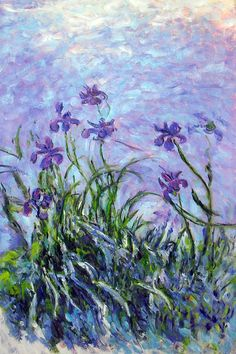 History Of Art Daily - Claude Monet - Irises Famous Paintings Monet, Paintings I Love, Monet Wallpaper, Painting Wallpaper, Art Quotidien, Artist Monet, Impressionist Artists, Ouvrages D'art, Art Moderne