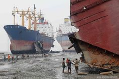 Alang, India on the west coast of India is known in the shipping industry as the ship breaking capitol of the world. Some studies conclude that over half of all world-wide ship salvage operations take place in this small town in India.