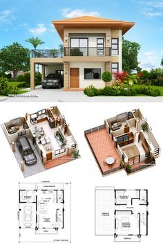 Two storey house with 3 bedrooms with usable floor area of 134 square meters Two Story House Design, 2 Storey House Design, Simple House Design, Modern House Design, Two Storey House Plans, Model House Plan, Sims House Plans, House Layout Plans, House Layouts