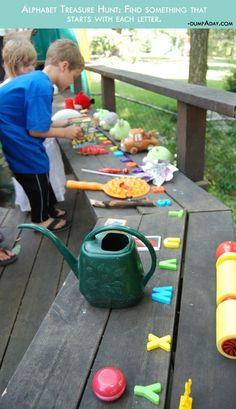 Alphabet bunt. Find one item for every letter. Fun Ideas For The Kids This Summer! – 22 Pics