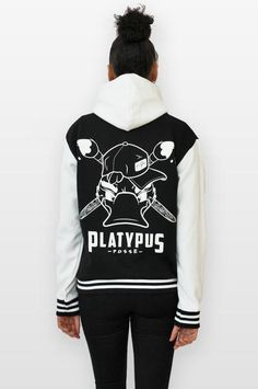 Platypus Posse Varsity Jacket with Hood. Screen printed by hand in the UK. Limited Edition. - www.platypus.clothing #varsity #graphics #baseball #jacket #streetwear #clothing #urbanwear #outerwear, #jacket #hoodie #character #design #platypus #art #artists #graffiti