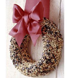 Love the idea of a bird-feeding wreath.