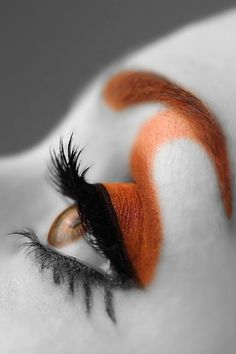 Woman's eye, closeup image with orange high fashion makeup, photographic art, for home and office décor. Title is: 117