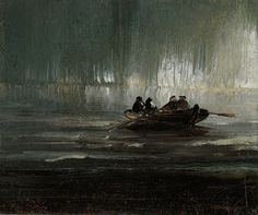 The Northern Lights over Four Men in a Rowboat Peder Balke
