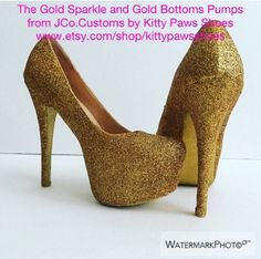 JCo.Customs by Kitty Paws Shoes Women's The Gold Sparkle and Gold Bottoms Pumps  | eBay