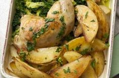 Rezepte Gesund - Roast lemon chicken with potato wedges recipe - goodtoknow - Pin of perfect ideas Dinners Under 500 Calories, 500 Calorie Meals, Low Calorie Recipes, Healthy Dinner Recipes, Cooking Recipes, Healthy Food, Healthy Dinners, Diet Recipes, Roasted Chicken And Potatoes