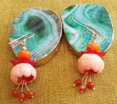 Ceramic bead earrings agate lamp work glass by SweetgemsDesign