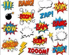 Superhero Girl Clipart Comic Book Clip Art Comic Text Speech Bubbles Boom Zap Bang Bam Crash Pow Sounds Sayings Superhero Clipart, Superhero Symbols, Superhero Template, Comic Strip Template, Festa Pj Masks, Book Clip Art, Comic Text, Wonder Woman Party, Wonder Woman Birthday