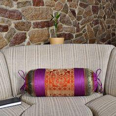 Indian Sofa Bed Decor Silk Fabric Bolster Throw Pillow Cushion Cover 18 x 8 Inch