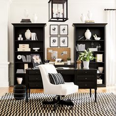 Make a home office refresh with new home office wall decor from Ballard Designs. Shop classic wall art, abstract wall art and more. Office Interior Design, Office Interiors, Home Interior, Black Office Furniture, Black Office Desk, Office With Couch, Gothic Furniture, Office Workspace, Feng Shui