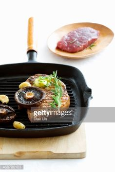 Stock Photo : Beefsteak with mushrooms, garlic and rosemary in grill pan Beef Steak, Griddle Pan, Garlic, Grilling, Stuffed Mushrooms, Stuff Mushrooms, Grill Pan, Crickets, Grill Party