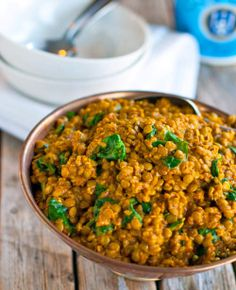 Coconut Green Curry Lentils another pinner suggests adding a dollop of peanut butter. yum!