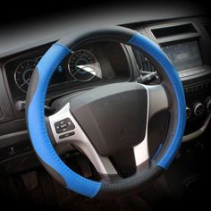 [USD2.87] [EUR2.57] [GBP2.06] Sports Car Steering Wheel Cover To Cover To Cover Leather Upholstery Four Seasons General (Colour: Blue, Adaptation Steering wheel diameter: 38cm)