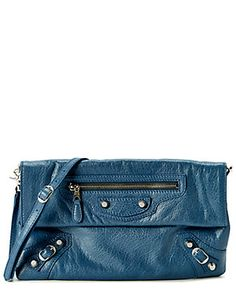 """Balenciaga """"Giant 12 Silver Envelope"""" Leather Clutch With Strap"""