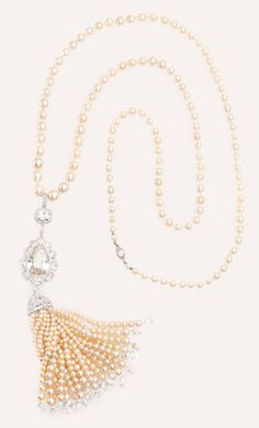 Natural Pearl and Diamond Tassel Necklace | Munnu The Gem Palace