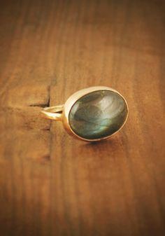 smooth labradorite ring w/ 14k gold band. gasped when I saw this... stunning.