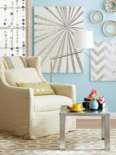 Make eye-catching wall art using canvases and metal repair tape. More blank wall solutions: http://www.bhg.com/decorating/home-accessories/wall-art/art-for-walls/?socsrc=bhgpin093013diyartwork&page=13