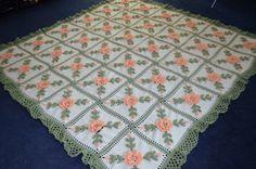 Floral Peach Roses Crocheted Afghan Blanket Throw  by sherryann325
