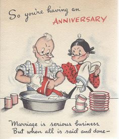 Vintage Anniversary Card (on etsy) Happy Wedding Anniversary Message, Anniversary Quotes For Couple, Wedding Anniversary Greeting Cards, Happy Anniversary Wishes, Cotton Anniversary Gifts, Wedding Congratulations, Anniversary Funny, Vintage Wedding Cards, Vintage Greeting Cards
