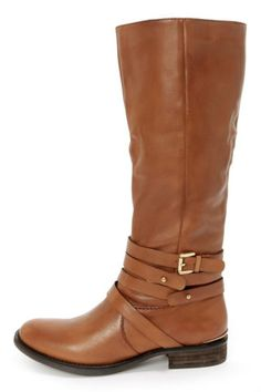 Steve Madden Albany Cognac Leather Belted Riding Boots