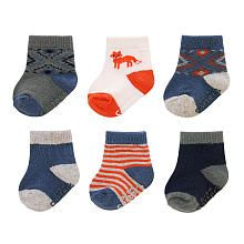 These Carter's 6-pack socks are the perfect staple to every outfit. Keeps baby's feet warm and cozy. Made with a polyester/cotton blend. Imported.