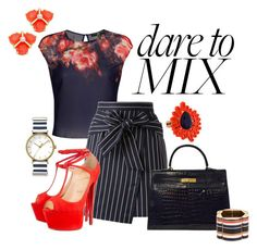 """Pattern Mix Master"" by itgeekgurl ❤ liked on Polyvore featuring Loveless, Hermès, Christian Louboutin, Mawi, Kate Spade, Lanvin, Timex and patternmixing"