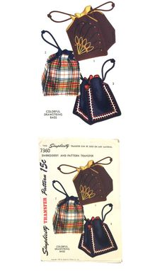 44c707a097 Vintage 1940 s Drawstring Bag with Embroidery Transfer Sewing Pattern