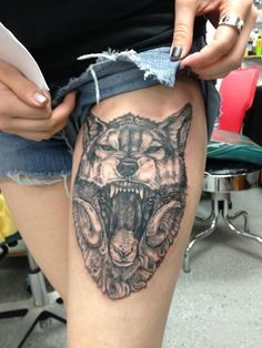 wolf tattoos on thigh - Google Search